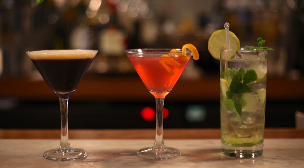 Three cocktails - espresso martini, cosmopolitan and mojito