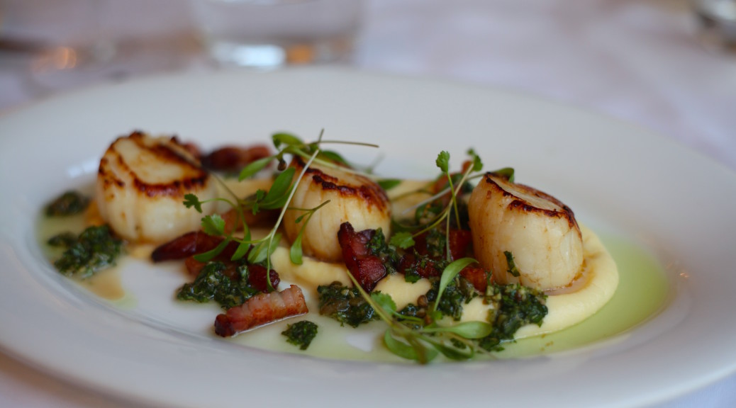 Pan-fried scallops, creamed celeriac, bacon, salsa verde