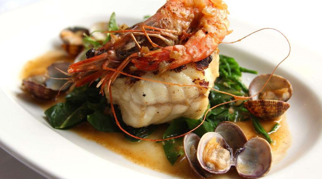 Chargrilled monkfish osso buco, tiger prawn & clams, samphire, gremolata