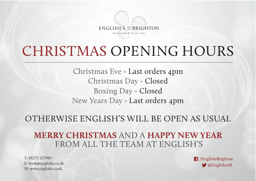 Open For Christmas Orders.Merry Christmas And A Happy New Year English S Of Brighton